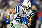 NASHVILLE, TN - DECEMBER 30:  Jordan Wilkins #20 of the Indianapolis Colts runs the ball for a touchdown during a game against the Tennessee Titans at Nissan Stadium on December 30, 2018 in Nashville, Tennessee.  The Colts defeated the Titans 33-17.   (Photo by Wesley Hitt/Getty Images) *** Local Caption *** Jordan Wilkins