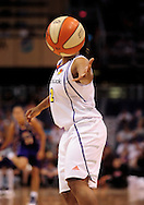 June 4, 2010; Phoenix, AZ, USA; Phoenix Mercury guard Temeka Johnson catches an inbounded ball  during the first half against the Los Angeles Sparks at US Airways Center.  The Mercury defeated the Sparks 90-89.  Mandatory Credit: Jennifer Stewart-US PRESSWIRE