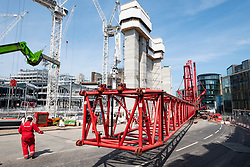 Edinburgh, Scotland, UK. 14 May 2019. Leith Street closed to allow massive mobile crane to be erected. The crane will be used in the construction of the Edinburgh St James development currently ongoing and scheduled to be completed in 2020.
