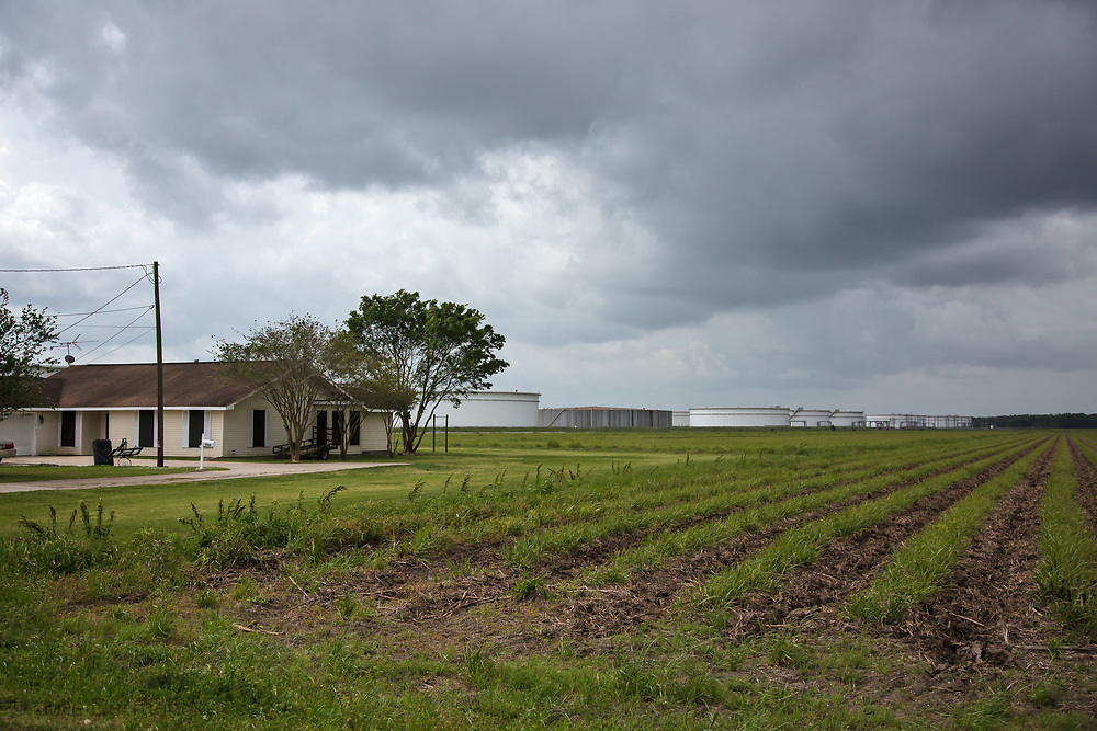 Home in St. James, LA, near Oil Storage tank farms, in the area where the Bayou Bridge pipeline will end if buitl.