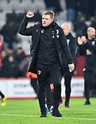 AFC Bournemouth manager Eddie Howe celebrates the 3-1 win at full time during the Premier League match between Bournemouth and Brighton and Hove Albion at the Vitality Stadium, Bournemouth, England on 21 January 2020.