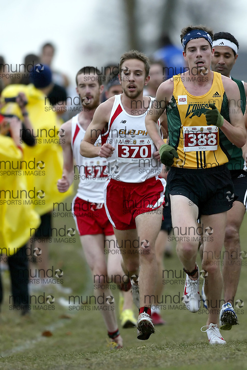 (Kingston, Ontario -- 14 Nov 2009)  ALLAN BRETT of the University of Guelph runs to 5 place at the  2009 Canadian Interuniversity Sport CIS Cross Country Championships at Forth Henry Hill in Kingston Ontario. Photograph copyright Sean Burges / Mundo Sport Images, 2009.