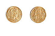 Golden Roman Coin. Emperor Constantine II (Constantinus) 337-361 CE Gold 4.5gr Left, Bust of Constantine. Right Roma and Constantinople seated holding shield