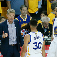 04 June 2017: Golden State Warriors head coach Steve Kerr talks to Golden State Warriors guard Stephen Curry (30) next Golden State Warriors guard Shaun Livingston (34) during the Golden State Warriors 132-113 victory over the Cleveland Cavaliers, in game 2 of the 2017 NBA Finals, at the Oracle Arena, Oakland, California, USA.