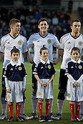 Scotland's Ross Perry and mascot - Scotland v Holland - UEFA U21 European Championship qualifier at St Mirren Park..© David Young - .5 Foundry Place - .Monifieth - .Angus - .DD5 4BB - .Tel: 07765 252616 - .email: davidyoungphoto@gmail.com.web: www.davidyoungphoto.co.uk