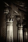 Pillars. Front veranda of an old house in Karaikal.<br /> South India.