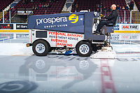 KELOWNA, CANADA - OCTOBER 27: The ice is resurfaced during intermission on October 27, 2017 at Prospera Place in Kelowna, British Columbia, Canada.  (Photo by Marissa Baecker/Shoot the Breeze)  *** Local Caption ***