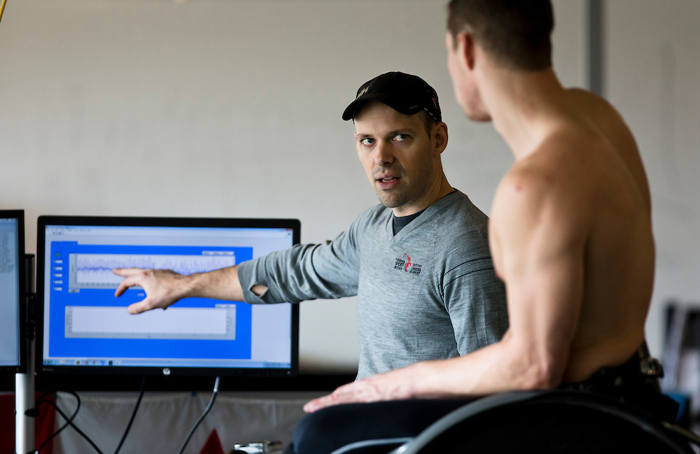 Athletes trains at the Pacific Institute for Sport Excellence on December 3rd, 2015 in Victoria, British Columbia Canada.<br /> <br /> Biomechanics Sam Blades testing both speed and biomechanic aspects of Smyth's movements on a treadmill with sensors connected to a computer.