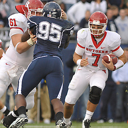 Oct 31, 2009; East Hartford, CT, USA; Rutgers quarterback Tom Savage (7) scramlbes from the pocket during second half Big East NCAA football action in Rutgers' 28-24 victory over Connecticut at Rentschler Field.