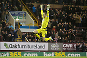Burnley goalkeeper Thomas Heaton  celebrates Burnley midfielder Scott Arfield goal during the Sky Bet Championship match between Burnley and Derby County at Turf Moor, Burnley, England on 25 January 2016. Photo by Simon Davies.
