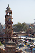 The clock tower in the centre of the Sardar Market in the old section of Jodhpur, Rajasthan, India