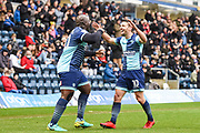Wycombe Wanderers Midfielder Matthew Bloomfield (10) celebrates scoring (1-0) with Wycombe Wanderers Forward Adebayo Akinfenwa (20) during the EFL Sky Bet League 2 match between Wycombe Wanderers and Carlisle United at Adams Park, High Wycombe, England on 3 February 2018. Picture by Stephen Wright.