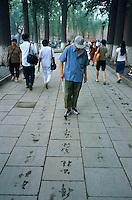Chine. Pekin. Exercice de calligraphie dans le park Beihai. // China. Beijing. Calligraphy exercice at Beihai park.