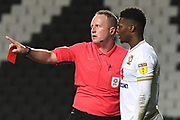 Milton Keynes Dons striker Kieran Agard (14) shown a red card, sent off during the EFL Trophy match between Milton Keynes Dons and Wycombe Wanderers at stadium:mk, Milton Keynes, England on 12 November 2019.