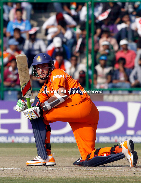 09.03.2011 Cricket World Cup from the Feroz Shah Kotla stadium in Delhi. India v Netherlands. Wesley Barresi of Netherlands plays a shot during the match of the ICC Cricket World Cup between India and Netherlands