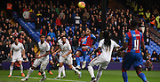 Jason Puncheon atempts the overhead during the Barclays Premier League match between Crystal Palace and Swansea City at Selhurst Park, London, England on 28 December 2015. Photo by Michael Hulf.