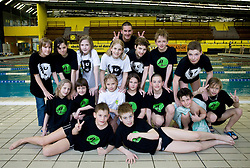 Coach Tomi Martinjak and Swimmers of PK Ilirija, on March 24, 2009, in Tivoli, Ljubljana, Slovenia. (Photo by Vid Ponikvar / Sportida)