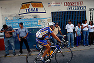 Carlos Escalona competes in stage five of the annual Vuelta al Tachira cycling race in Merida, Venezuela on Wednesday, Jan. 9, 2008. Local and international teams will ride over 1580 kilometers and climb a 1500 meter altitude differential throughout the competition. The grueling, 13-stage race through the Andes mountains is hailed as the premier cycling event in South America.