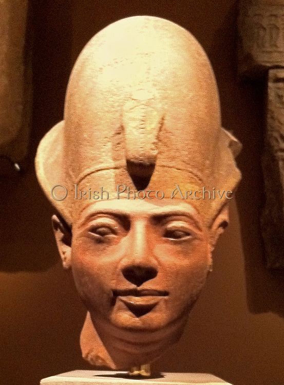 Head of King Amenmesse Wearing the Blue Crown. New Kingdom, Ramesside 19th Dynasty. ca. 1203–1200 B.C.Egypt, Upper Egypt; Thebes, el-Karnak, Temple of Amun, Hypostyle Hall