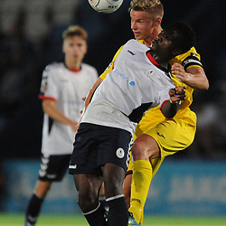 TELFORD COPYRIGHT MIKE SHERIDAN 14/8/2018 - Daniel Udoh of AFC Telford and Gareth Dean during the Vanarama Conference North fixture between AFC Telford United and Brackley Town.