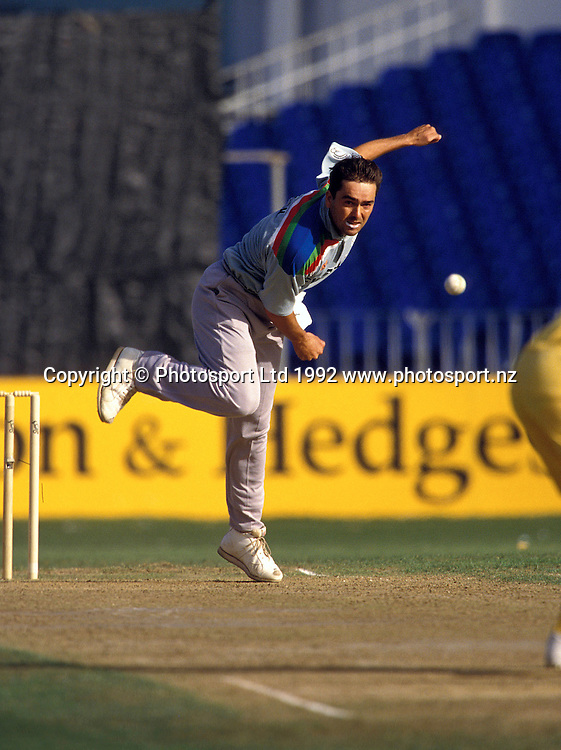 Willie Watson in action, One day international cricket, 1992 World Cup. New Zealand Black Caps v Australia. Eden Park, Auckland, 22 February 1992. Photo: PHOTOSPORT