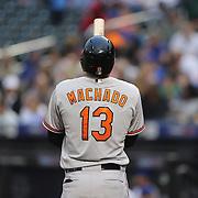 Manny Machado, Baltimore Orioles, batting during the New York Mets Vs Baltimore Orioles MLB regular season baseball game at Citi Field, Queens, New York. USA. 5th May 2015. Photo Tim Clayton