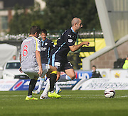 Dundee's Gary Harkins goes past his former St Mirren team-mate Kenny McLean - St Mirren v Dundee, SPFL Premiership at St Mirren Park<br /> <br />  - &copy; David Young - www.davidyoungphoto.co.uk - email: davidyoungphoto@gmail.com