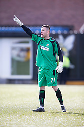 Alloa Athletic's keeper Craig McDowall.<br /> Alloa Athletic 2 v 1 Hibernian, Scottish Championship game played 30/8/2014 at Alloa Athletic's home ground, Recreation Park, Alloa.