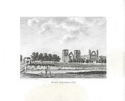 Engravings of Scottish landscapes and buildings from late eighteenth century, Elgin cathedral, Scotland, UK
