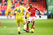 Charlton Athletic midfielder Joe Aribo (17) and Bristol Rovers defender Tom Lockyer (4) during the EFL Sky Bet League 1 match between Charlton Athletic and Bristol Rovers at The Valley, London, England on 24 November 2018.