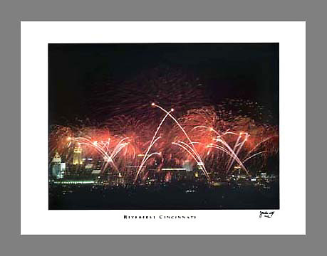 Signed and numbered 19x24 poster of fireworks going off during the Riverfest festival in Cincinnati, Ohio
