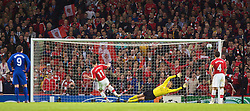 LONDON, ENGLAND - Tuesday, May 5, 2009: Arsenal's Robin van Persie scores a consolation goal from the penalty spot past Manchester United's goalkeeper Edwin van der Sar during the UEFA Champions League Semi-Final 2nd Leg match at the Emirates Stadium. (Photo by Carlo Baroncini/Propaganda)