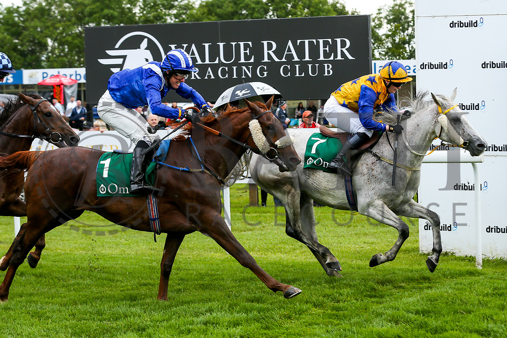 Antonia Peck on Popstar edges out Stephen Harrison on Al Kashaaf for 2nd place in the Al Qurum Beach Amateur Riders Handicap Stakes during Ladies Day at Bath Racecourse - Rogan/JMP - 15/06/2019 - HORSERACING - Bath Racecourse - Bath, England.