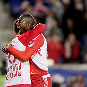 Bradley Wright-Phillips, (right), congratulates team mate Sacha Kljestan, New York Red Bulls, after scoring during the New York Red Bulls Vs Houston Dynamo, Major League Soccer regular season match at Red Bull Arena, Harrison, New Jersey. USA. 19th March 2016. Photo Tim Clayton