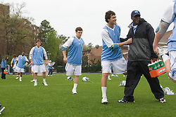 05 April 2008: North Carolina Tar Heels midfielder Sean Burke (42) and athletic trainer Geoffrey Staton before playing the Virginia Cavaliers in Chapel Hill, NC.