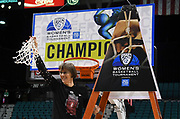 Stanford Cardinal head coach Tara VanDerveer waves the net from the championship game of the Pac-12 Conference women's basketball tournament Sunday, Mar. 10, 2019 in Las Vegas.  Stanford defeated Oregon 64-57. (Gerome Wright/Image of Sport)