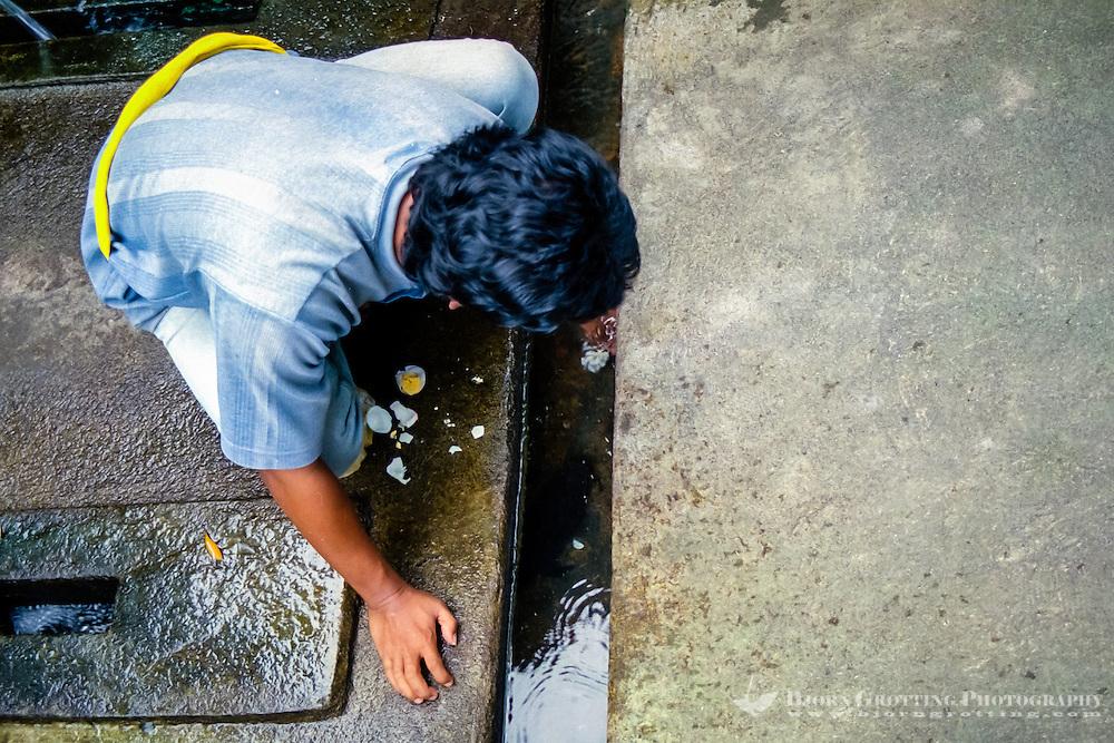 Nusa Tenggara, Lombok, Mataram. Pura Lingsar temple, feeding of the sacred eel.