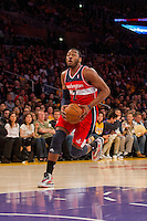 22 March 2013: Guard (2) John Wall of the Washington Wizards drives to the basket against the Los Angeles Lakers during the first half of the Wizards 103-100 victory over the Lakers at the STAPLES Center in Los Angeles, CA.
