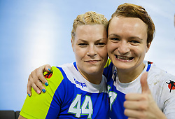 Ana Petrinja and Katja Cerenjak  after the handball match between Women National teams of Slovenia and Serbia in 2nd Round of Qualifications for 2014 EHF European Championship on October 27, 2013 in Hala Tivoli, Ljubljana, Slovenia. Slovenia defeated Serbia 31-26. (Photo by Vid Ponikvar / Sportida)