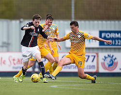 Falkirk's Blair Alston and Morton&rsquo;s Luca Gasparotto. <br /> half time : Falkirk 0 v 0 Morton, Scottish Championship game  played 1/5/2016 at The Falkirk Stadium.
