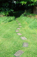 stepping stone path leading across lawn