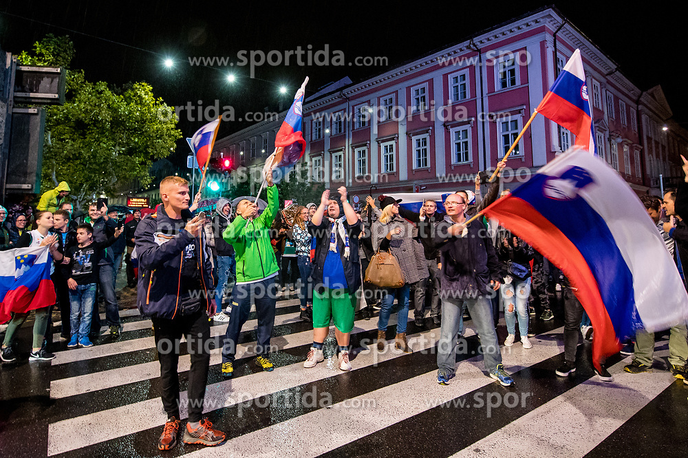 Fans celebrating in downtown Ljubljana after winning the Final basketball match between National Teams Slovenia and Serbia of the FIBA EuroBasket 2017, on September 17, 2017 in Ljubljana, Slovenia. Photo by Morgan Kristan / Sportida