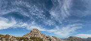 mountains, blue sky, clouds, rocks, pano