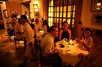 People enjoy their meals at La Vitrola, a popular restaurant in Cartagena's old city, on Thursday, August 21, 2008. (Photo/Scott Dalton).