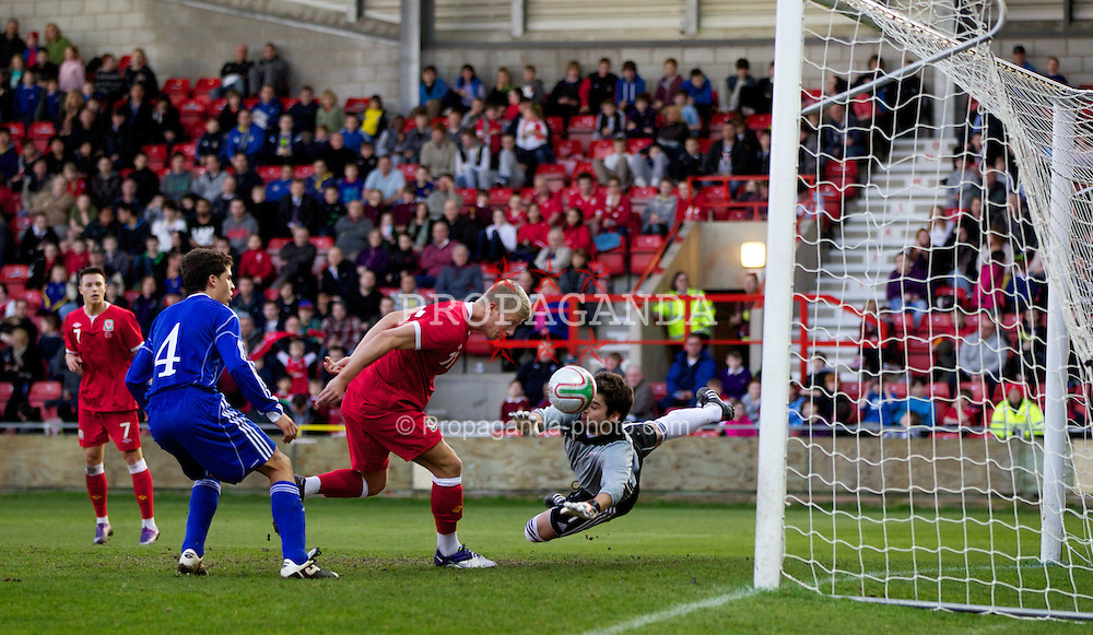 WREXHAM, WALES - Wednesday, February 29, 2012: Wales' Ryan Doble (Southampton) misses a great chance against Andorra's goalkeeper Daniel Vinardell (FC Andorra) during the UEFA Under-21 Championship Qualifying Group 3 match at the Racecourse Ground. (Pic by Vegard Grott/Propaganda)