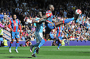 Yannick Bolasie acrobatically controls the high ball during the Barclays Premier League match between Crystal Palace and Manchester City at Selhurst Park, London, England on 12 September 2015. Photo by Michael Hulf.