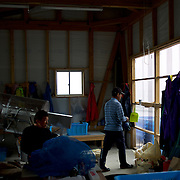 Fishermen of Togura at a storage shed in the local port after collecting ropes used to grow sea weed. Togura, a small fishing village in Minami Sanriku, was vastly destroyed by the 2011 tsunami that hit the northeast coast of Japan. Thousands died and hundreds of families lost their houses, business and boats. The recovering community works now in a cooperative system where the few remaining boats spared by the tsunami are shared by all.