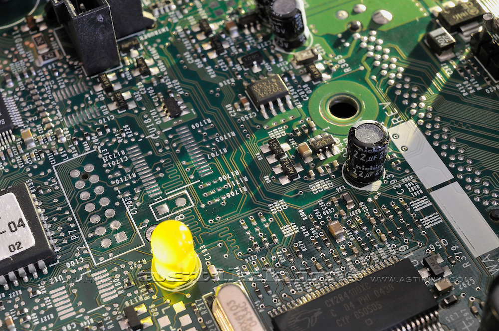 Close up of electronic components on circuit