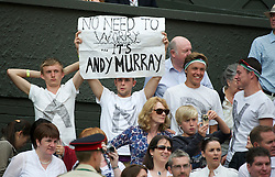 "LONDON, ENGLAND - Wednesday, June 29, 2011: Andy Murray supporters hold a banner reading ""No Need To Worry It's Andy Murray"" during the Gentlemen's Singles Quarter-Final match on day nine of the Wimbledon Lawn Tennis Championships at the All England Lawn Tennis and Croquet Club. (Pic by David Rawcliffe/Propaganda)"
