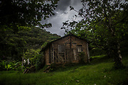 Reminiscence of a time when state abandonment and self building were the rules, a mud hut stands at the Ivaporunduva quilombo (former runaway slave communal land) in Eldorado, south of Sao Paulo, Brazil, Monday, Nov. 26, 2018. (Dado Galdieri)